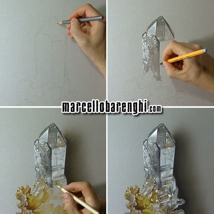 Hyperrealistic drawing of a hyaline quartz - four drawing stageg by Marcello Barenghi.