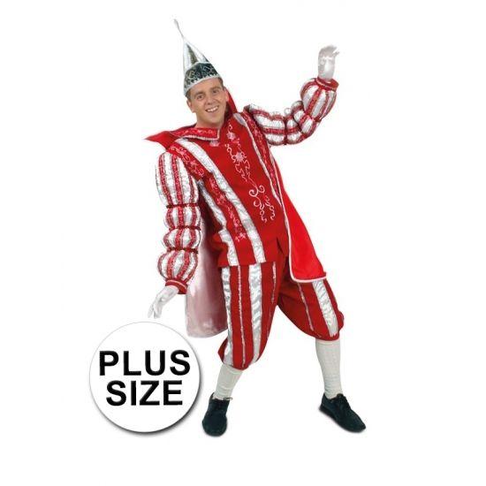 Grote maten Prins Carnaval kostuum rood wit. Dit prachtige rood/witte Prins Carnaval kostuum bestaat uit de broek, jas en cape.