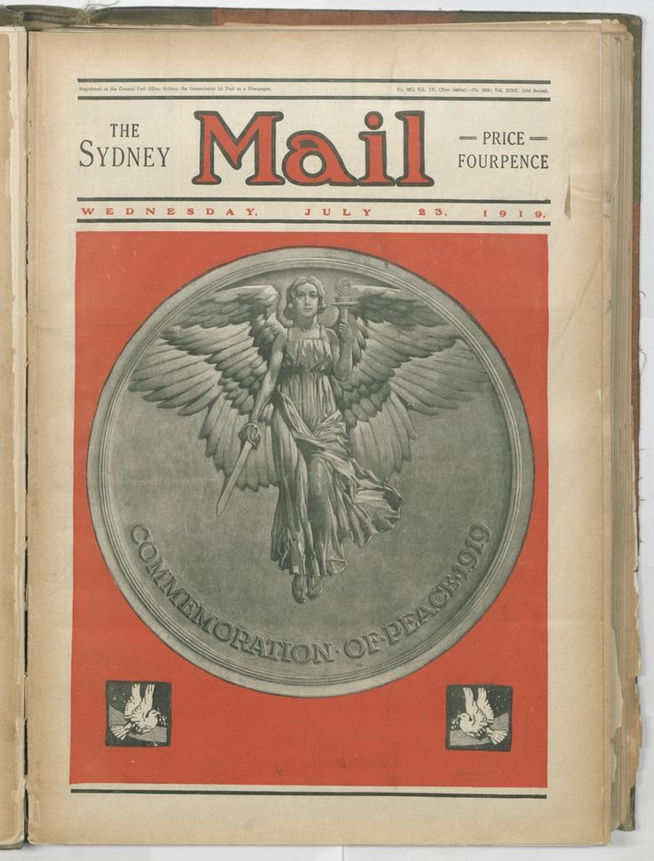 Commemoration of peace, 1919. Sydney Mail, 23 July 1919. To order a fine art print of this image, please call the Library Shop on 61 2 9273 1611, quoting digital order number a9609260. http://acms.sl.nsw.gov.au/album/albumView.aspx?itemID=1064155&acmsid=0, image no. 260.