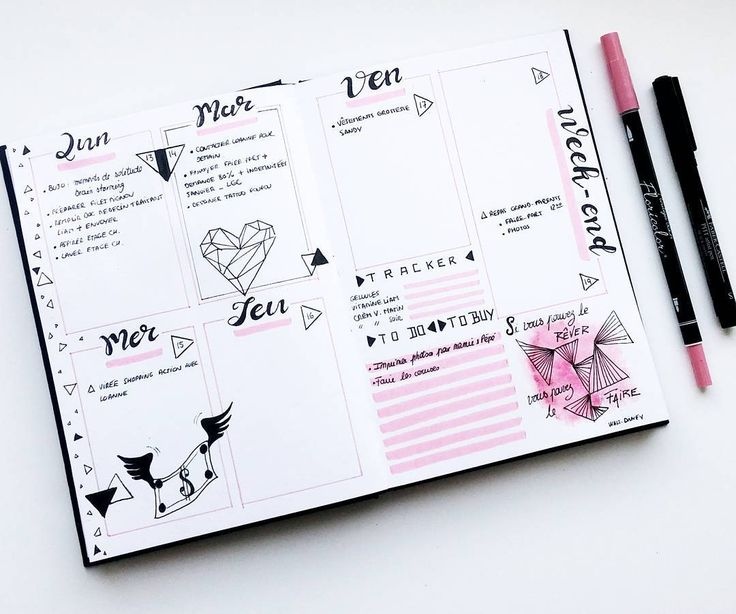 """110 mentions J'aime, 6 commentaires - Virginie (@french_dreamer_life_lover) sur Instagram: """"Prête pour une nouvelle semaine   #février #february #daily  #weekly #pink #rose #bulletjournal…"""""""