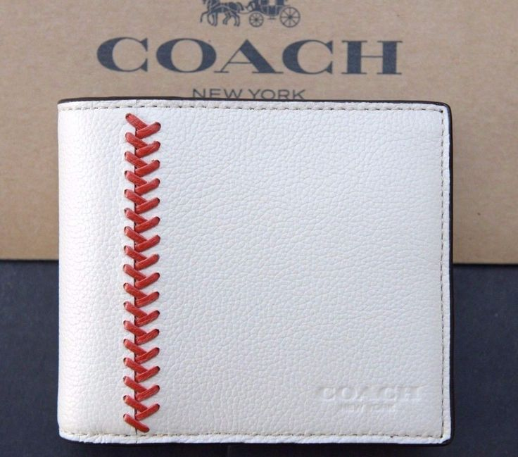 NWT Coach $185 Men's Compact ID White Baseball Stitch Leather Wallet F75170