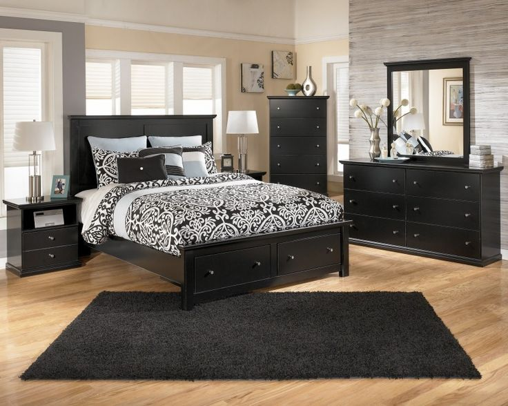 Maribel Black Queen Panel Storage Bedroom Collection By Ashley Furniture At  Furniture Outlet World