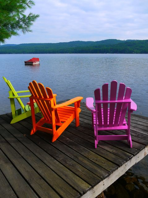 Adirondack Chairs in Ben Moore's Orange Juice, Tequila Lime, and Pink Raspberry from homemadecity.com