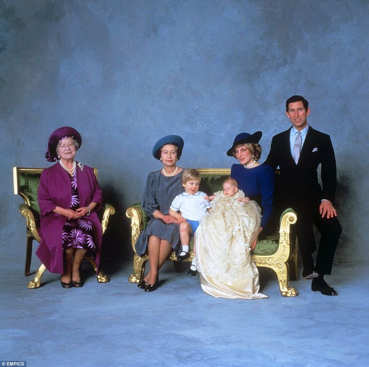The Prince wore the outfit while pictured with (from left) the Queen Mother, the Queen, Princess Diana and Prince Charles