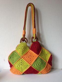 Square Bag: Granny Bags, Crochet Bags, Crochet Granny Squares, Granny Squares Bags, Crochet Tote, Squares Tas, Square Bags, Crochet Purse, Jellina Cr