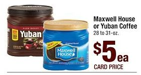 Maxwell House or Yuban Coffee for $4 at Safeway Stores on 6/14 on http://hunt4freebies.com/coupons