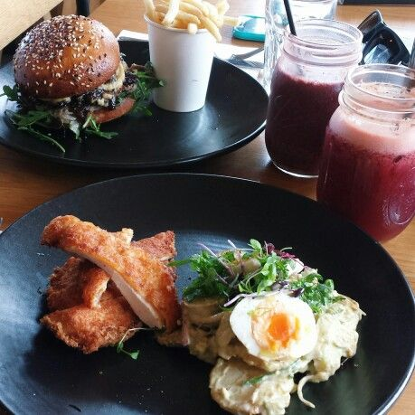 Chicken schnitzel with a potato salad and a Lamb burger #brunch #lunch #melbourne #seddon