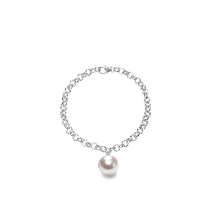 Modern XXL pearl chain bracelet in 14ct gold filled or 925 sterling silver. The pearl measures 13-14mm. Designer: ORA Pearls London  Shop: Song of Jewellery