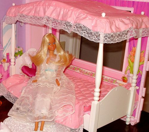 Barbie bed--with satin sheets, of course.