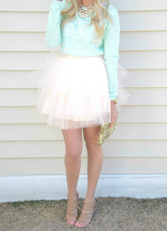 Spring / Summer - street chic style - party look - mint sweater or top + pale pink mini tulle skirt + nude heeled sandals
