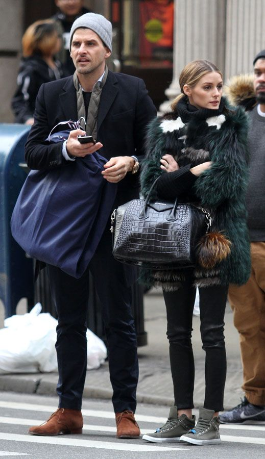 Style Maven : Olivia Palermo's Patchwork Fur and Leather Trouser Look for Less