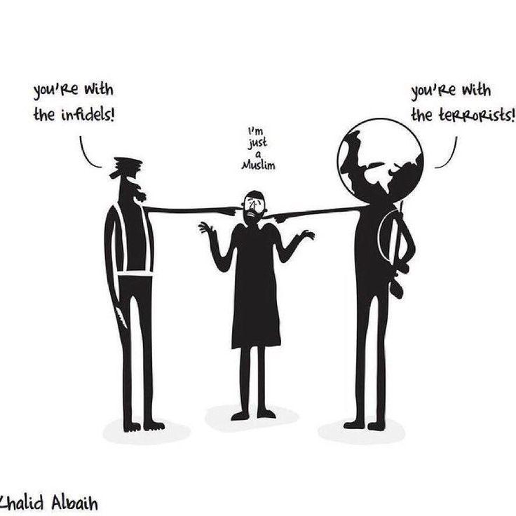 - You are with the infidels - you are with the terrorists - I am just #muslim ! - Tu es avec les infidèles - Tu es avec les terroristes - Je suis simplement musulman !  Nous sommes là entre terroristes & des non-musulmans. Se plaindre ? Non. Agir. Promouvoir bien condamner le mal c'est au coeur de notre foi de notre morale et de notre conduite.  Concrètement cela veut aussi signifier que chacun de nous doit agir vraiment agir. Dans sa rue dans son quartier dans l'école de ses enfants au…