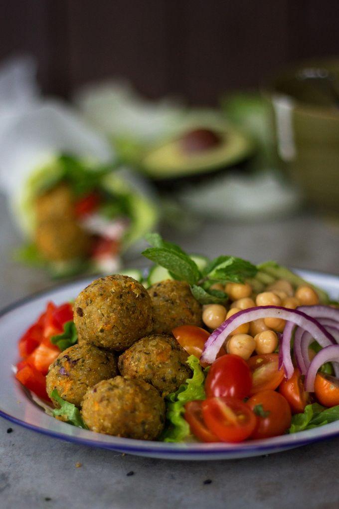 vegan: quinoa falafel...