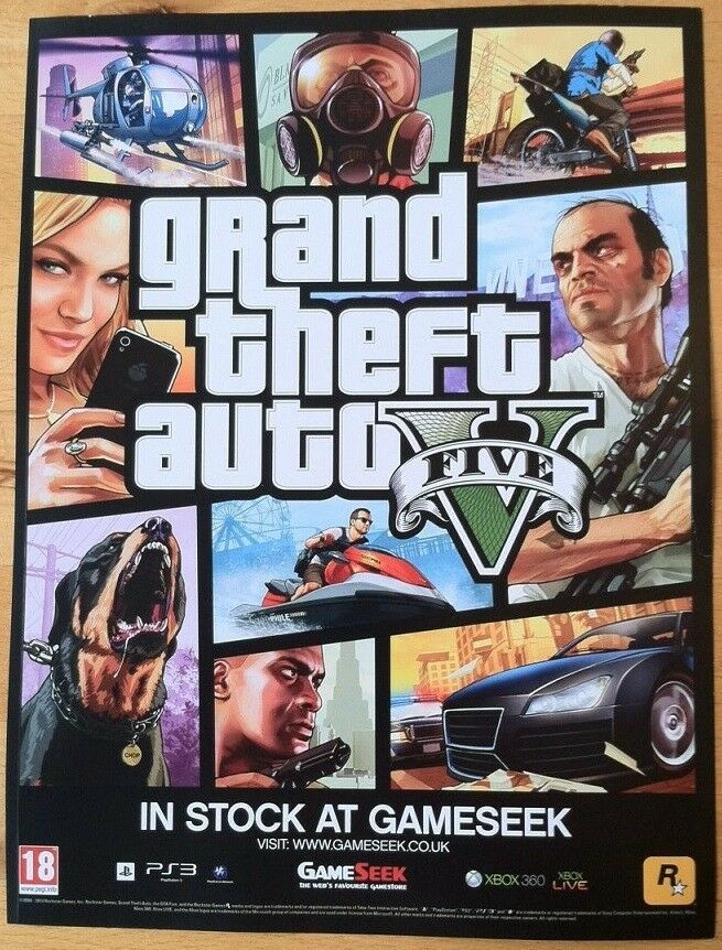 Grand Theft Auto 5 Poster Ad Print Playstation 3 With Images Grand Theft Auto Rockstar Games New Video Games