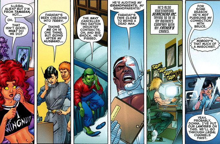"""theflyingwonder: """" """" New Teen Titans: Games """" """"For some reason he's not pursuing my connection with Bruce."""" """"Nobody's that much of a masochist."""""""