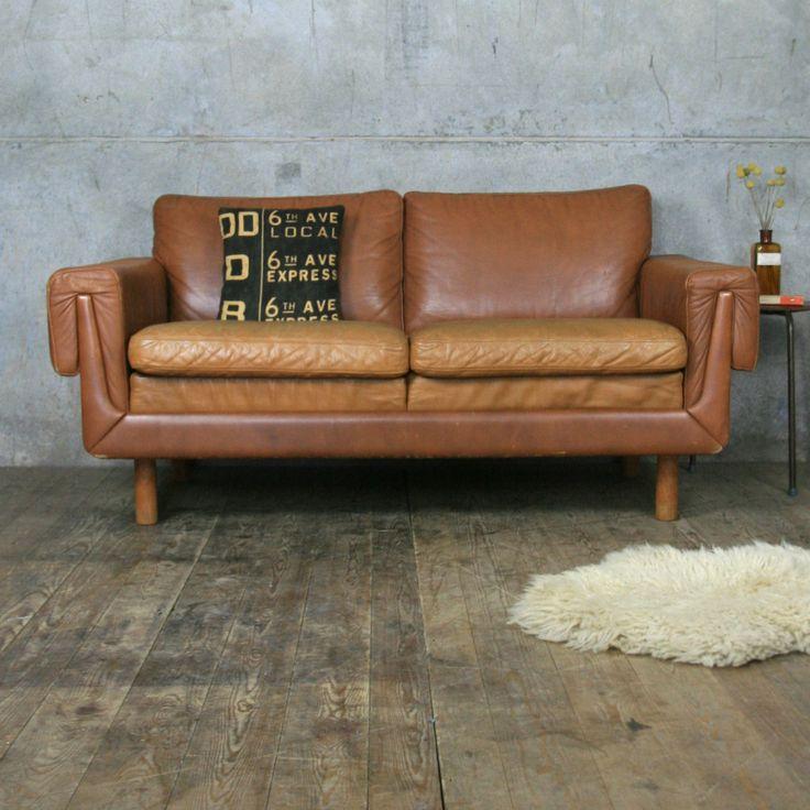 midcentury danish two seater tan leather sofa