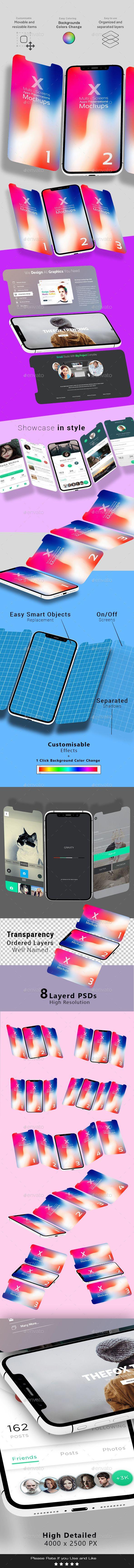 X Multi-Screens Apps Presentations Mock-ups