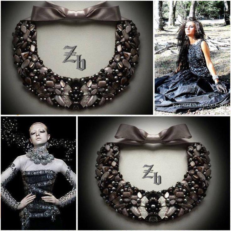 Silver&grey stone&crystal...z'ett bijou handmade necklace