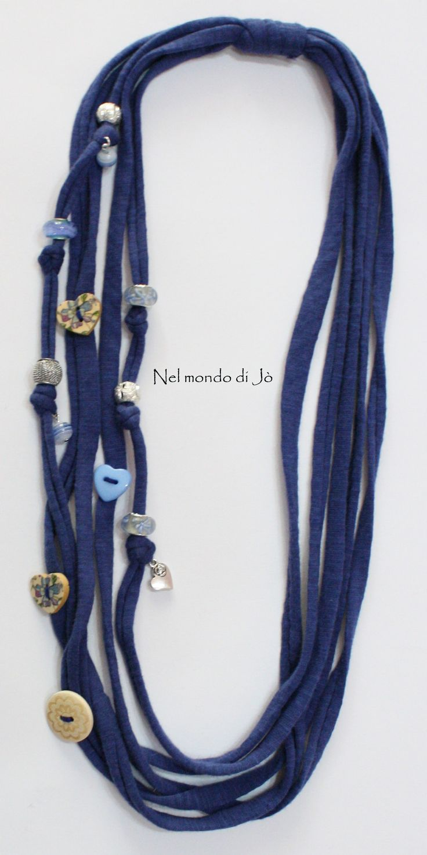 collana fettuccia blu