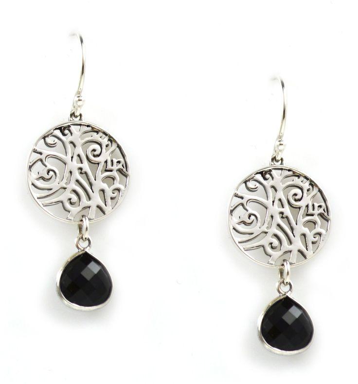 Earrings in Black Onyx Sterling Silver