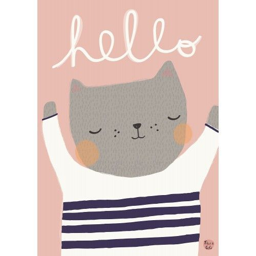 A cute cat perfect for a nursery decoration or a kidsroom. Makes a nice set with poster bear hello.The cat is illustrated by Aless Baylis. Composition: 170gra