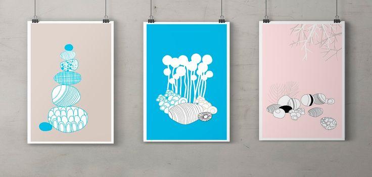 Cecilie-design: Poster design, doodling rocks and pebbles.