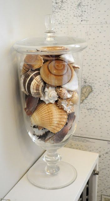 Thinking of doing something similar with the shells we brought back from Ireland, to decorate the bathroom.