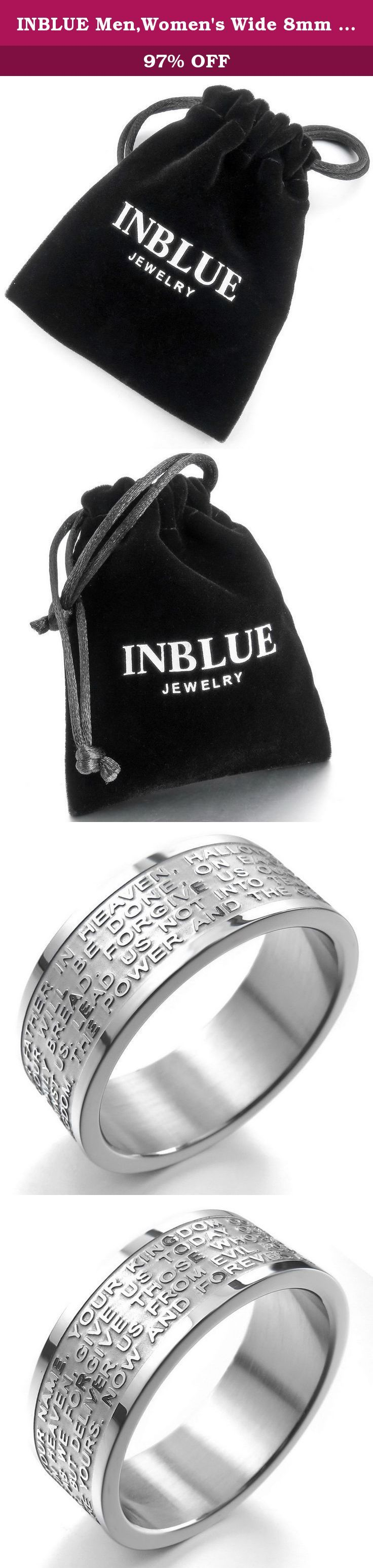 INBLUE Men,Women's Wide 8mm Stainless Steel Ring Band Silver Tone English Bible Lords Prayer Cross Size9. INBLUE - High quality Jewelry Discover the INBLUE Collection of jewelry. The selection of high-quality jewelry featured in the INBLUE Collection offers Great values at affordable Price, they mainly made of high quality Stainless Steel, Tungsten, Silver and Leather. Find a special gift for a loved one or a beautiful piece that complements your personal style with jewelry from the…