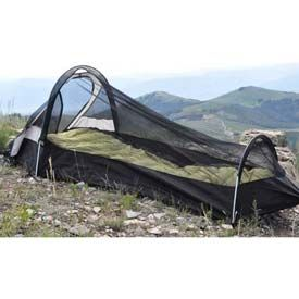Backside T5 without rainfly. Nice 1-man tent, but a little tight for 220lb man. You can lean up inside but you can not sit straight up. Keep searching for UL and more situp space. 3.2lb