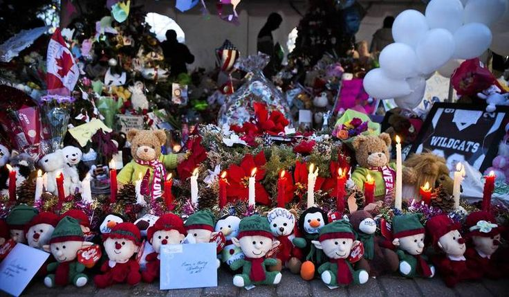 A memorial for those killed in the school shooting at Sandy Hook Elementary School is seen in Newtown, Connecticut. Donations and letters are pouring in from across the country as the town tries to recover from the massacre.