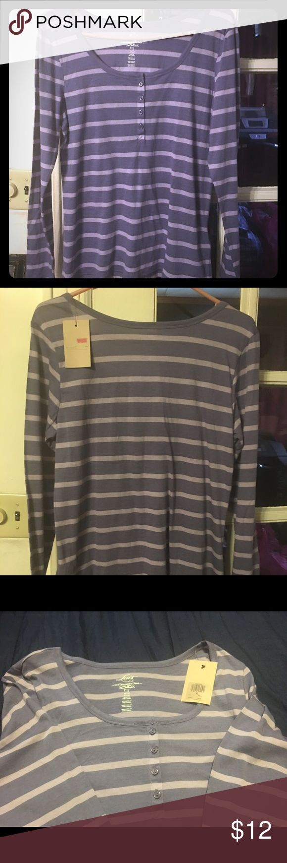 Levi Henley Tee Long Sleeve four Button front Henley Tee. New with Tag. Excellent condition. Lavender Levi's Tops Tees - Long Sleeve