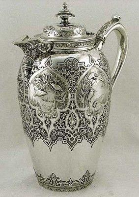 Japanese Sterling Silver Fishing Crane Coffee Pot Scottish 1883 Meiji