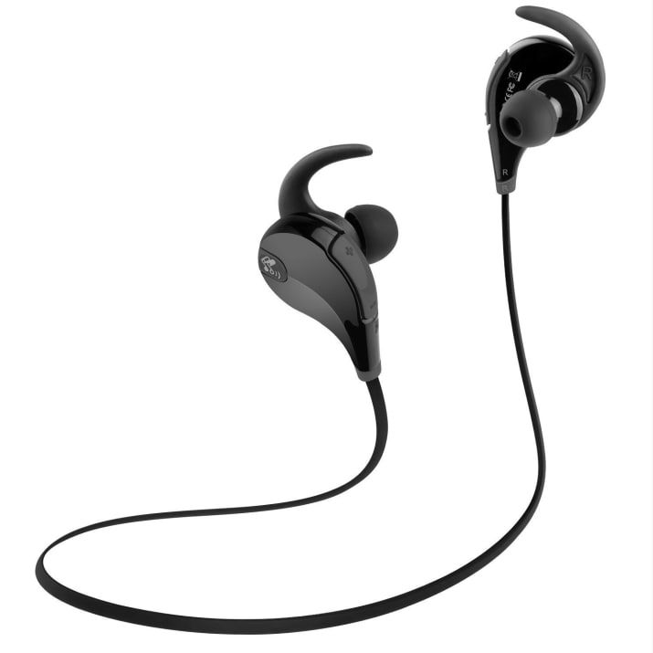 """Promising review: """"I use these while running and working out. Sound quality is very good, especially for such cheap earbuds. I had some Sony earbuds that were 5x more expensive and did not sound nearly as good as these. The battery life and Bluetooth range seem to be close to what is advertised: I have not measured exactly, but when I leave my phone at the bench and have to go a ways to get some more weights, the connection stays strong for what seems to be about 30 ft. I can also attest to…"""