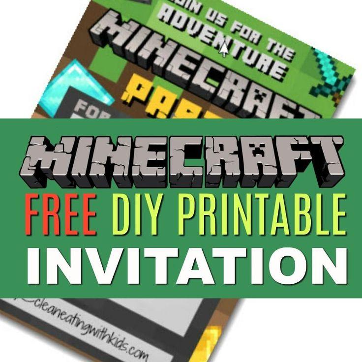 Free diy printable minecraft birthday invitation clean