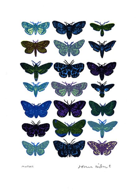 Blue Moths - mini print