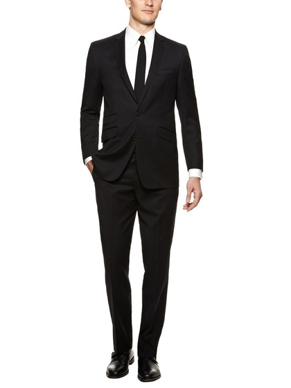 Ben Sherman Suiting Wool Suit Solid Black