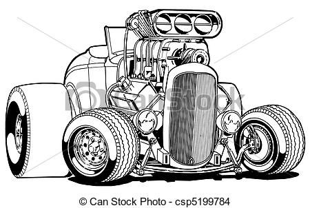 Hot Rod Cartoon Art Drawings