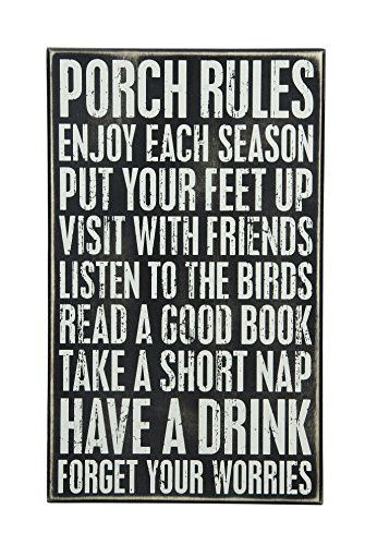 Primitives by Kathy Box Sign 16.5-Inch by 10-Inch Porch Rules