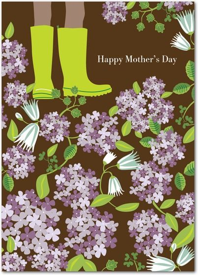Hip Hydrangeas - Mother's Day Greeting Cards in Chocolate | Pinkerton Design