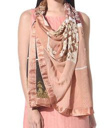 Buy Beige georgette stole and dupattas stole-and-dupatta online