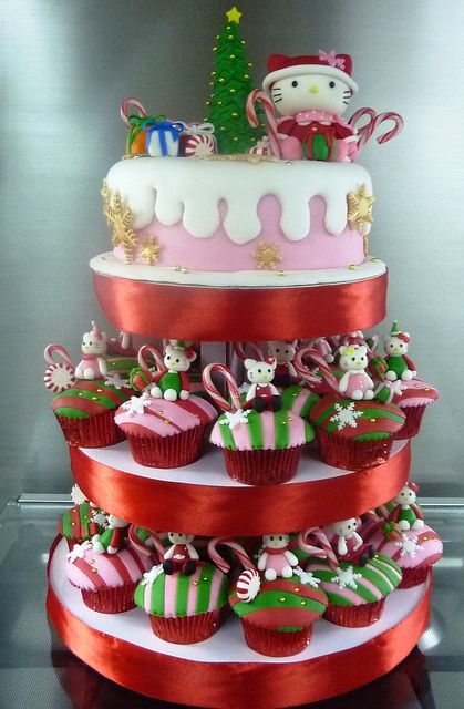 Christmas Hello Kitty Cupcake Tower