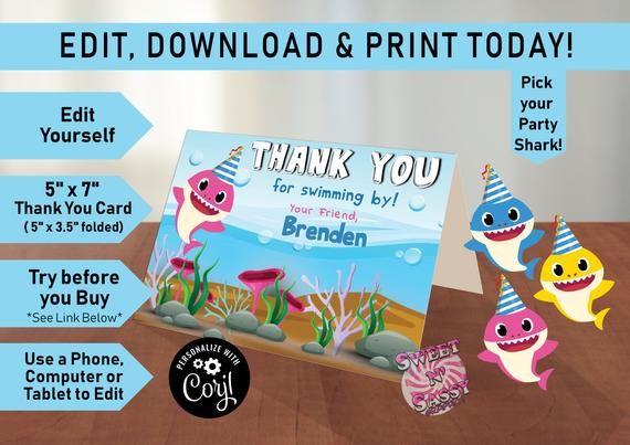 Baby Shark Editable Thank You Card Baby Shark Card Thank You Shark Thank You Birthday Thank You Birthday It S Your Birthday Baby Cards First Birthday Sign