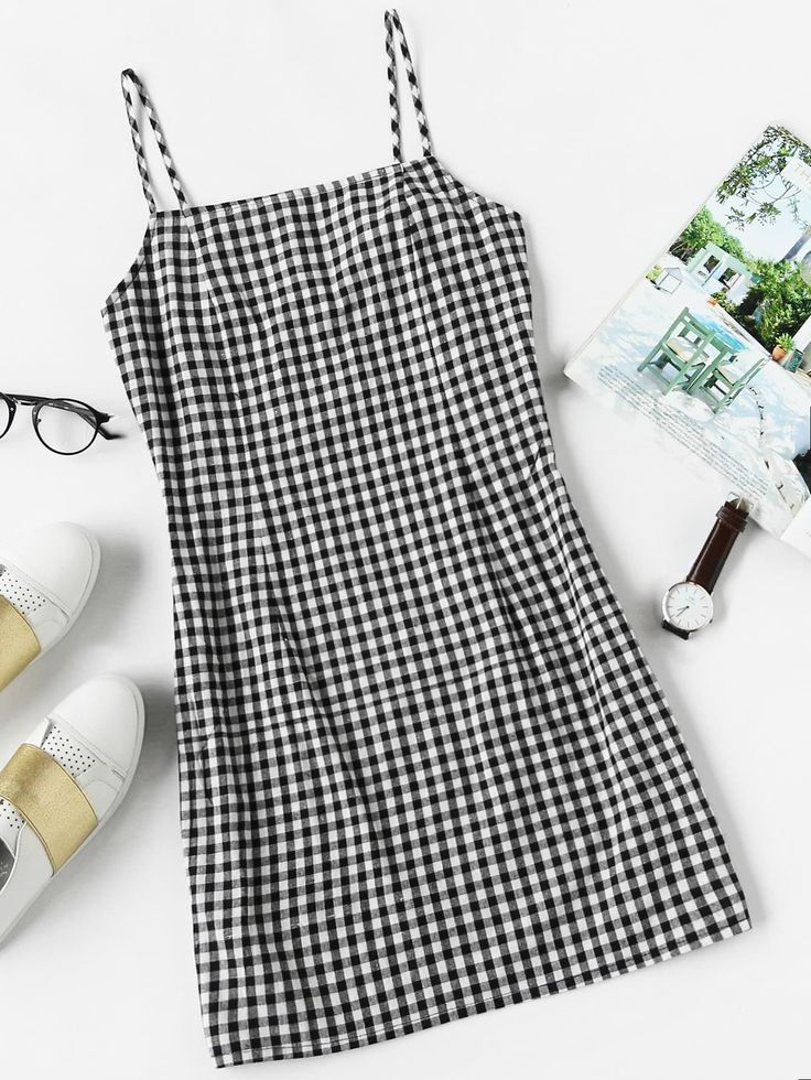 Preppy Slip Gingham Sheath Straight Spaghetti Strap Sleeveless Natural Black and White Short Length Gingham Print Cami Dress