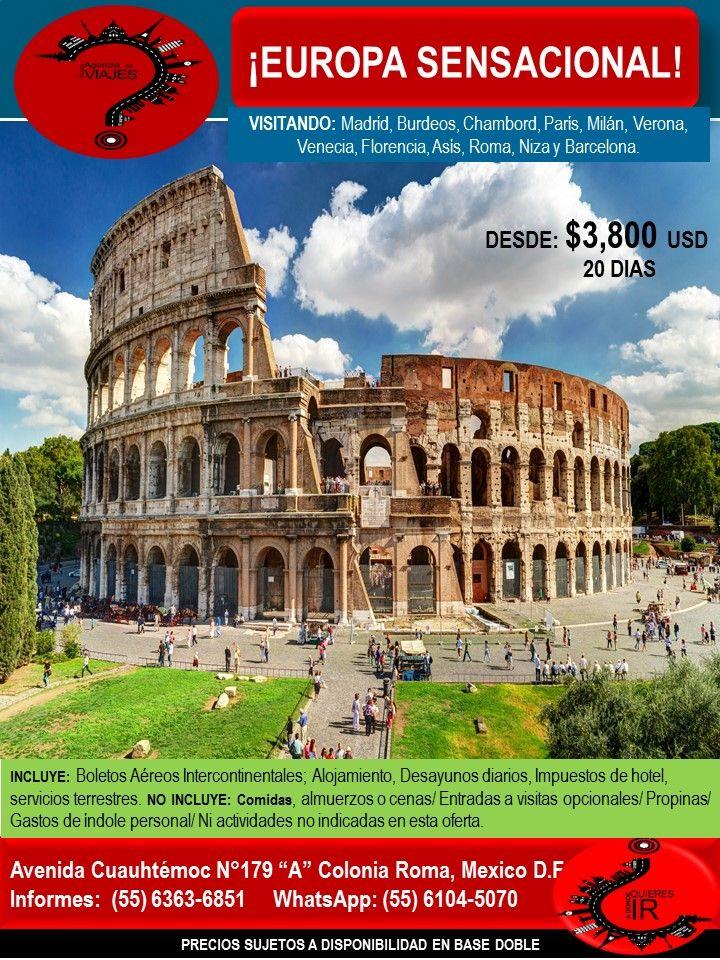 ¡EUROPA SENSACIONAL!   Llámanos al 6363-6851 escríbenos al correo: buzon@romaagenciadeviajes.com o Visitamos en: Avenida Cuauhtemoc 179 A Colonia Roma CDMX de Lunes a Viernes de 10 am a 19 hrs y sábados y domingos de 11 hrs a 15 hrs (Cerramos puentes y días festivos) También puedes visitar la pagina web: www.romaagenciadeviajes.com donde pulsando el botón de BOLETOS podrás reservar en linea las 24 hrs del día Boletos Aéreos, Hoteles y Paquetes y aprovechar los meses sin intereses con las…