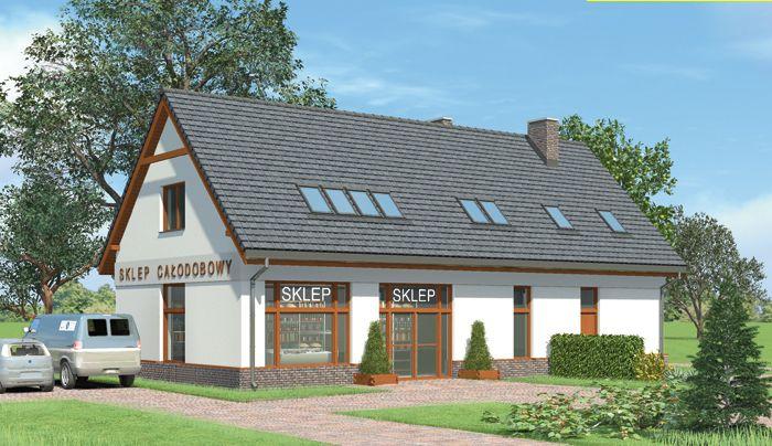 Na parterze zaprojektowano pomieszczenieusługowe o powierzchni prawie 73 m2 oraz zaplecze magazynowe i socjalno-sanitarne.