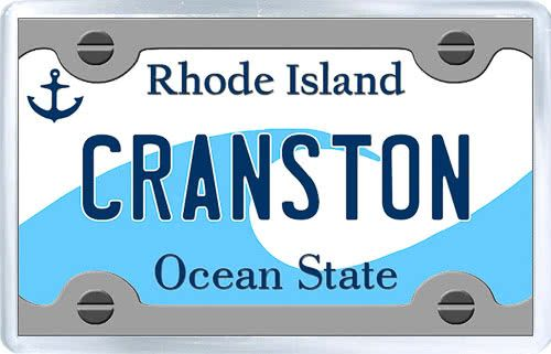 $3.29 - Acrylic Fridge Magnet: United States. License Plate of Cranston Rhode Island