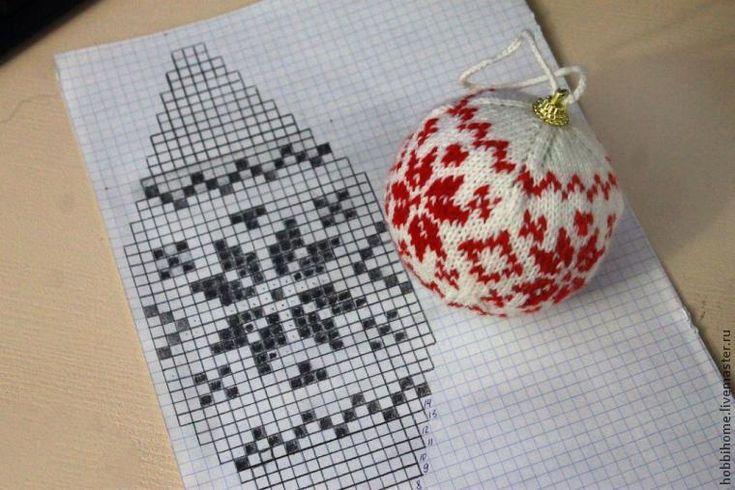 Вяжем новогодний шарик с жаккардовым орнаментом - Ярмарка Мастеров - ручная работа, handmade