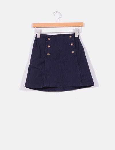 Falda marinera azul oscuro Pull&Bear