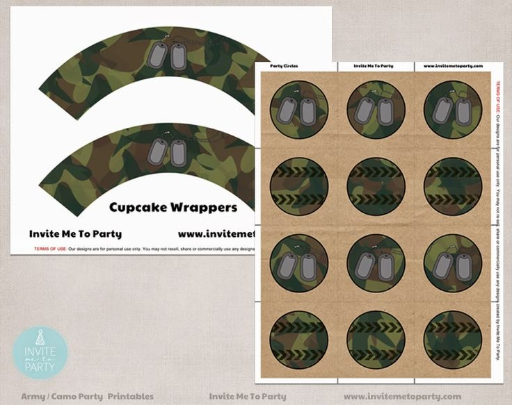 Army Party Cupcake Wrappers Invite Me To Party: Army Invitation | Camo Party
