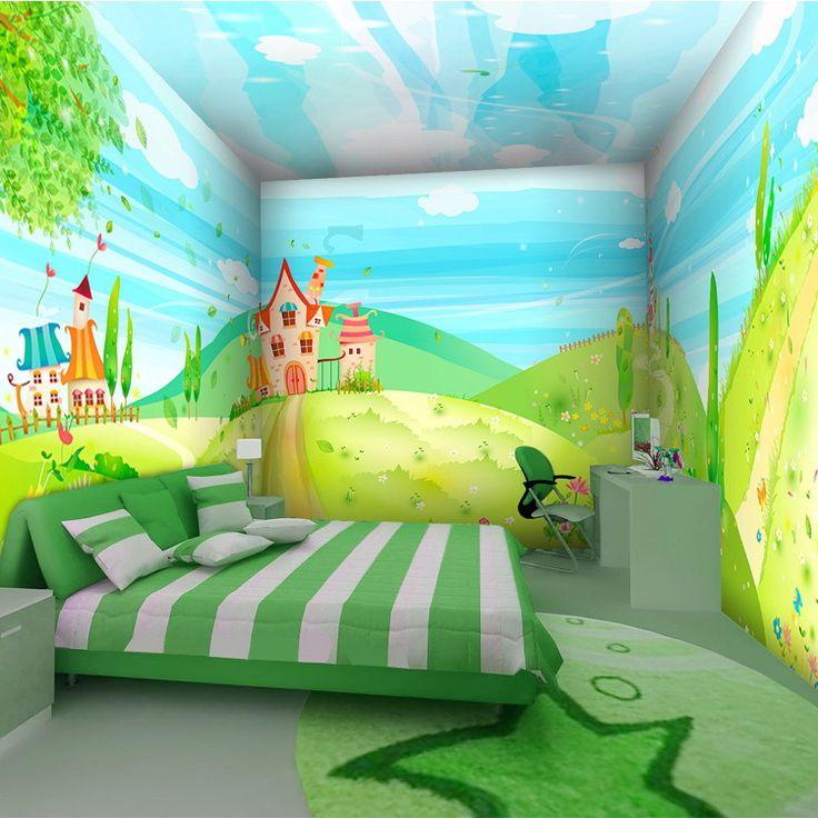 Aliexpress.com: Comprar Envío gratis grandes niños de la princesa de dibujos animados castillo temáticas dormitorio sala de fondo de papel tapiz mural 3D PVC tamaño personalizado de colores de fondo de pantalla fiable proveedores en 17.9 Wallpaper monopoly